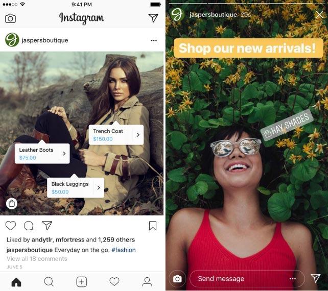 post e storie per lo shopping su Instagram