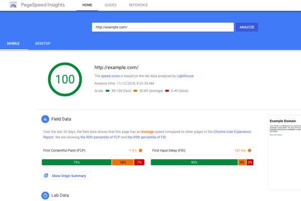 PageSpeed Insights Google 2019